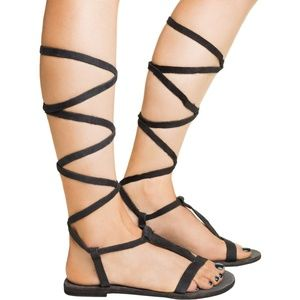 NIB Free People Washed Blk Dahlia Gladiators 7.5 8